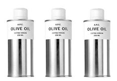 olive Oil packaging and product design: minimalistic chrome and white | packaging | Design: A.P.C |