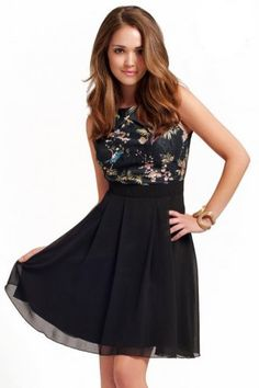 Little Mistress Oriental Black Lace Print Detail Dress