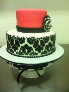 #146 2 tier Damask cake at delriocakes.biz