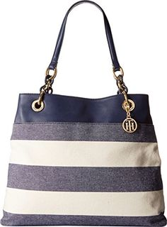 Women's Shoulder Bags - Tommy Hilfiger Signature Chain Tote NavyNatural -- Read more reviews of the product by visiting the link on the image.