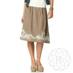 """Coldwater Creek Tan Embroidered Skirt Super Cute Tan Embroidered Border Skirt.  ▪ Fully lined with partial elastic waist & zipper closure  ▪ Waist: 29"""" inches, Length: 26"""" inches   All measurements are approximate   Brand New with Tag & never worn   ✋ Petite cut skirts of this brand fit the same overall as a regular cut. Please see measurements above.   ✨ FINAL PRICE ~ NO OFFERS ✨   PRICE IS FIRM unless bundled     All Sales Final 