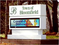 More and more municipalities use electronic message centers to display important local news and events. This monument sign features full-color LEDs and is one of two ARTfx designed and manufactured for Bloomfield, CT.