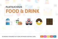 Food & Drink Flat Icons by Pixel Bazaar on @creativemarket