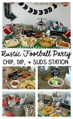 Rustic Football Party: Chip, Dip, and Suds Station - Kendall Rayburn