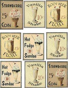 Vintage Ice Cream Graphics - Free Printables. Ice Cream Social - Ice Cream Party