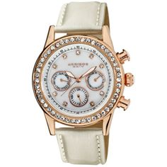 Akribos GMT Multi-Function Rose Gold-Tone Ladies Watch (11.285 UYU) ❤ liked on Polyvore featuring jewelry, watches, akribos xxiv, analog wrist watch, crown jewelry, analog watches and gmt watches