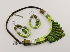 Green jasper statement necklace thread necklace earrings handmade thread wrapped…