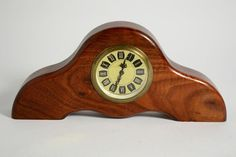 Vintage Mercedes Mini-Mantle Clock Made In Germany Wind Up Brass Wood