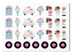 In this 50s kit you will get 28 stickers. The humans measure approx. 23 mm in height. These Planner Stickers are handmade and printed on glossy white sticker pa