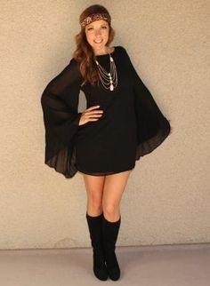 Bell Sleeve 'Harmony' Dress,  Dress, bell sleeves  boho  zipper back, Bohemian (Boho) / Hippie $52