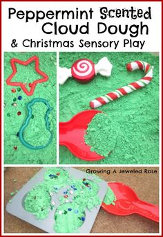 Peppermint scented cloud dough- let's little ones make Christmas cookies and treats that smell just like Christmas should!  Fantastic imaginative sensory play