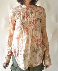 Hazel Brown floral shirt with shirring