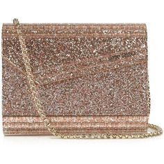 Jimmy Choo Candy small clutch ($750) ❤ liked on Polyvore featuring bags, handbags, clutches, brown purse, sparkly purses, brown leather handbags, glitter handbag and genuine leather handbags
