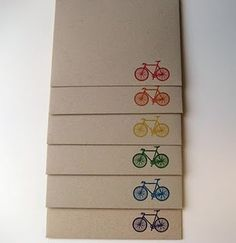 Gocco printed rainbow bicycle rainbow envelopes