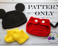 Crochet PATTERN - Newborn to 12 months Mickey Mouse set Photo Prop Set -Instant Download PDF 125- Photography Prop Pattern