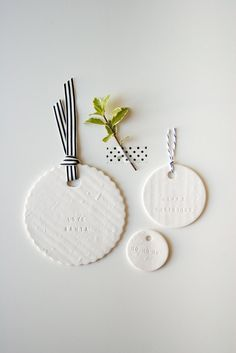 round white polymer clay tags + stamp