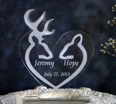 Buck and Doe Wedding Cake Topper   Engraved & by artZengraving, $29.00