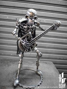 Steampunk  Metal Skeleton Musician small item by Kreatworks, $88.00
