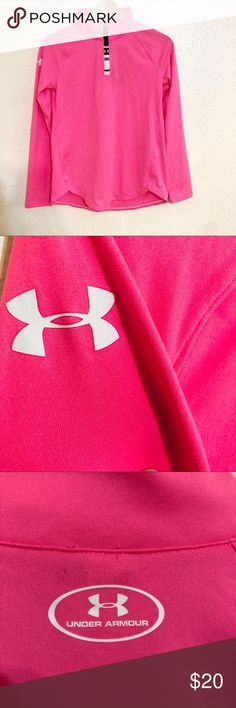 "Neon pink girls under armour top Pictures don't do justice for this neon pink under armour top. Long sleeve with ""half"" zipper. The size is a girls Large. 4th photo shows magnification of ""dirt"" on back of shirt. This spot will very easily wash out, however I didn't do so because it is Brand new with tags. Retails for over $30 Under Armour Shirts & Tops"