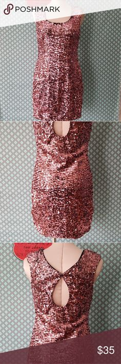 Pink sequin dress Such a beautiful sparkle to this dress. A great bubble gum punk color . The square neckline is very flattering and the back has a twist cut out design . Over all there is a slight stretch to the dress so if you like that body con look this will be a good choice .     Pre owned condition *******All items are in pre owned condition, Nothing, unless noted , is brand new **** please ask questions For sale in my posh closet  LINK IN MY BIO Aidan Mattox Dresses Mini