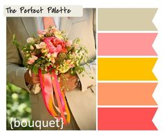 Looking for your wedding color palette? The Perfect Palette wants to help! The Perfect Palette is dedicated to helping you see the many ways you can use color to bring your wedding to life. Peach Colors, Coral Color, Sunset Colors, Colour Schemes, Color Combinations, Colour Palettes, Living Colors, Sunset Wedding, Taupe Wedding