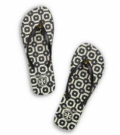 Thin Printed Flip-Flop - BLACK-TORY TILE PRINT