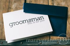 Marrygrams makes beautiful wedding paper products! Groomsman This Is For You Wedding Day Card Block Style -- Thank You Card for your Bridal Party (Choose your wedding party titles: Groomsman, Best Man, Ring Bearer, Usher, and more) #marrygrams