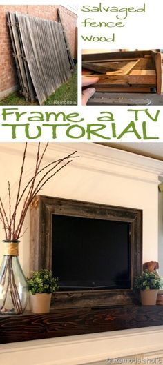Frame It In Fencing - 10 Brilliant Ways to Disguise Your Flat Screen TV room Farmhouse Hide Tv Over Fireplace, Above Fireplace Ideas, Fireplace Inserts, Fireplace Wall, Fireplace Design, Fake Fireplace, Frame Around Tv, Frame For Tv, Tv Wall Cabinets