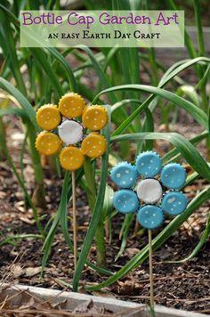 Easy Earth Day Craft: Bottle Cap Garden Art - Suburbia Unwrapped