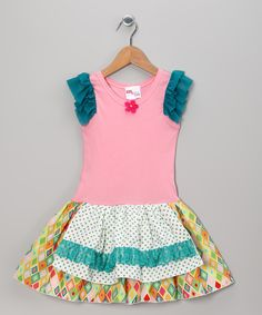 Take a look at this Gus & Lola Pink Molly Apron Dress - Infant, Toddler & Girls on zulily today!