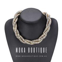 We live sersatile pieces like this. Take this gold & black spiral necklace from day to night @mokaboutiqueaustralia #moka #móka #mokaboutique #mokaaustralia #mokaboutiqueaustralia #jewelry #jewellery #necklace #choker #fashion #statementpiece #statementjewelry #statementnecklace #style #outfit #daytonight #jotd #gold #black