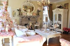 Beautiful living room---I believe in pink <3 & this presh livingroom. Would change out some of the artwork; but love the concept!