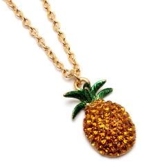 PINEAPPLE CRYSTAL STUD NECKLACE $14.00~ This is for you Kristie! :)
