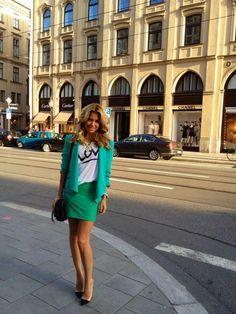 green blazer ,skirt @roressclothes closet ideas #women fashion outfit #clothing style apparel