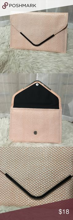 BCBGeneration clutch. Pink scales magnetic close Cute, chic, pink scaled BCBGeneration clutch bag. Inside is black with zipper pocket inside. BCBGeneration Bags Clutches & Wristlets