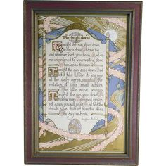 Old, Framed Motto Print, The Day is Done by Douglas Malloch