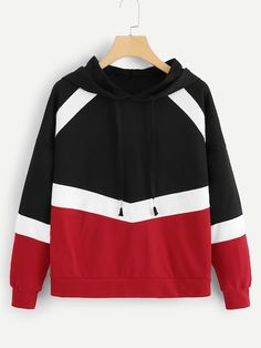 SHEIN offers Color Block Hooded Sweatshirt & more to fit your fashionable needs. Sweatshirts Online, Mens Sweatshirts, Look Con Short, Sweaters And Jeans, Cool Hoodies, Fashion News, Men's Fashion, Boy Outfits, Crew Neck Sweatshirt