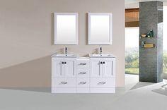 "60"" Redondo White Double Modern Bathroom Vanity with Side Cabinet and Integrated Sinks #PacificCollection #HomeRemodel #BathroomRemodel #BlondyBathHome #BathroomVanity"