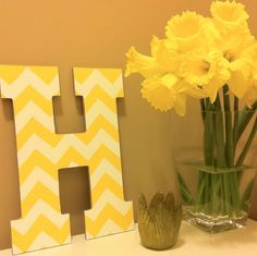 Monogrammed letters with chevron pattern