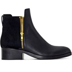 3.1 Phillip Lim Alexa Boot (£405) ❤ liked on Polyvore featuring shoes, boots, stacked heel shoes, leather shoes, real leather boots, 3.1 phillip lim and leather footwear