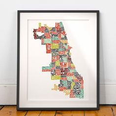 Chicago neighborhoods typography map art print -signed print from my hand-drawn United States Typography Map Art series -featuring and shaped from the