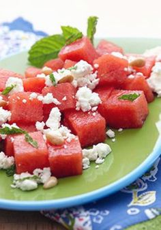 Mix up your summer salads with juicy watermelon, feta, pine nuts and balsamic dressing.