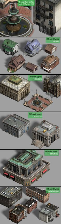 Realistic City: Buildings Amazing pack of realistic buildings in isometric view.Different types of buildings: - city buildings, administrative buildings - cottages, garages - attractions (historical architecture, church, park) Unity Game Assets 3D