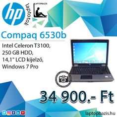 "HP Compaq 6530b laptop, Intel Celeron T3100, 250 GB HDD, 14,1"" LCD kijelző, Windows 7 Pro Ár: 34 900.- Ft"