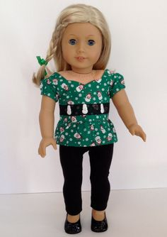 American Girl Doll Clothes - Have some Holiday fun! A cute snowman print blouse with black leggings
