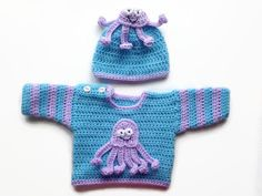 Blue Octopus Baby Sweater and Hat Set going home outfit baby shower gift crochet baby cardigan baby boy jumper baby girl jacket marine set by BabyBunnies4 on Etsy https://www.etsy.com/listing/261103748/blue-octopus-baby-sweater-and-hat-set