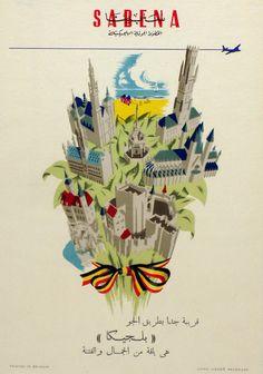 Vintage Airline Poster / Sabena - Belgium Party Vintage, Vintage Travel Posters, Vintage Airline, April 4th, Advertising Poster, Poster On, Vintage Advertisements, Art Nouveau, Graphic Art