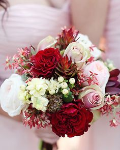 Red wedding flower bouquet, bridal bouquet, wedding flowers, add pic source on comment and we will update it. www.myfloweraffai... can create this beautiful wedding flower look.