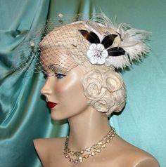 Fascinator Bridal Veil white cream swirls by HighLaneMillinery, $175.00