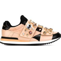 Dolce & Gabbana embellished sneakers (29 865 UAH) ❤ liked on Polyvore featuring shoes, sneakers, velcro strap sneakers, pink and black shoes, pink and black sneakers, embellished shoes and dolce gabbana sneakers